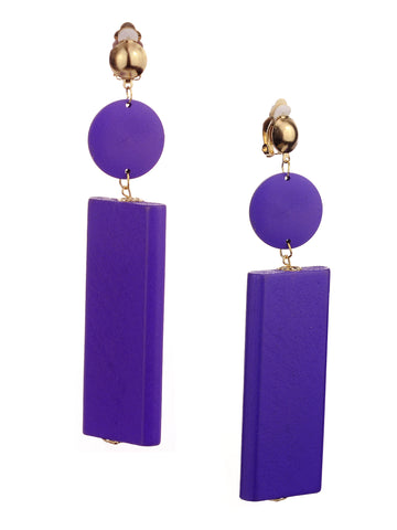 Women's Wood Geometric Round and Rectangular Clip On Earrings, Purple