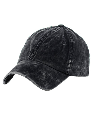 54f329d6c48 D Y Unisex Snow Washed Distressed Cotton Twill Precurved Bill Baseball Cap