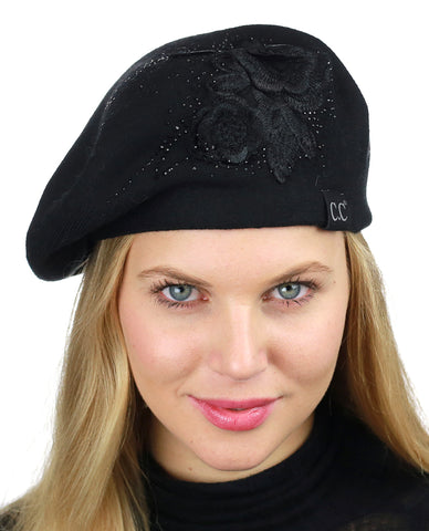 C.C Rhinestone Embellished Embroidered Flower French Style Angora Beret