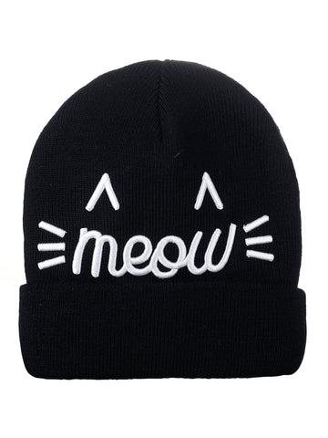 D&Y Fine Knit Double Layered Beanie With 3D Meow Embroidery