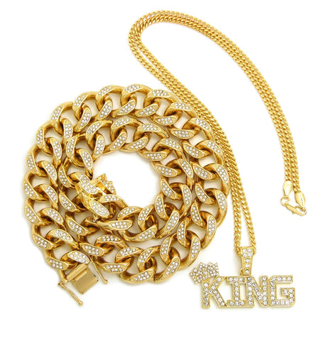 Hip Hop Rapper's Style Iced Out Cuban Chain & Stone Stud Crowned KING Pendant with Box Chain Necklace Set