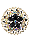 NYFASHION101 Elegant Formal Multi Size Rhinestone Studded Round Brooch Pin Set, Black/Red/Turq/Silver-Tone