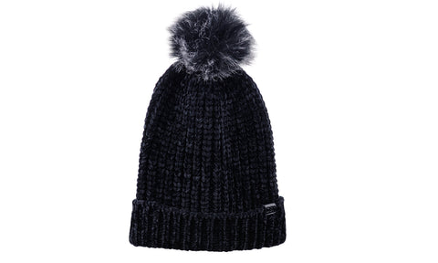 72ec4ed62b52c8 D&Y Warm Knit Chenille Cuffed Style Beanie with Cute Faux Fur Pom ...
