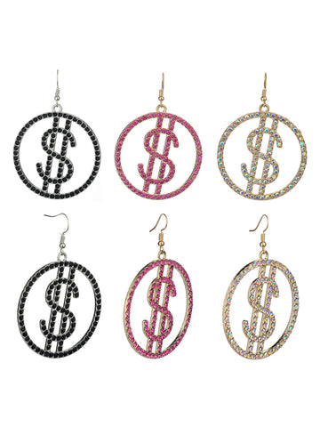 Women's Stone Stud Encircled Dollar Sign Money Symbol Dangle Pierced Earrings Set, Black/Pink/Aurora Borealis