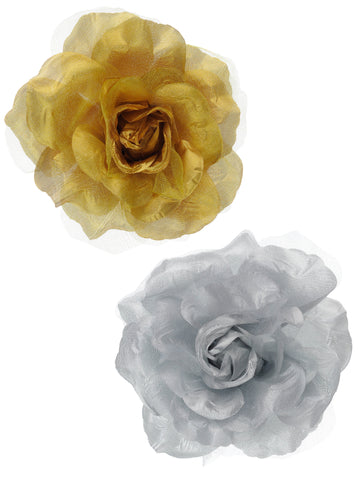Women's Multifunction Rose Flower Sheer Petal Brooch Pin Hair Tie Clip Set of 2, Gold/Silver