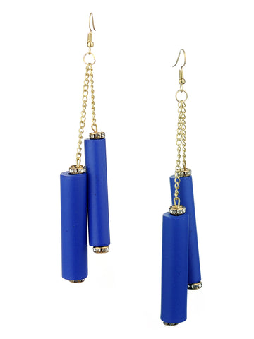 Women's Wood Cylinder Mini Stone Stud Ends Link Chain Dangle Pierced Earrings, Royal