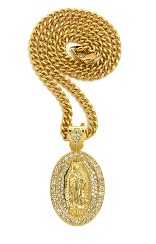 Stone Stud Oval Virgin Mary Medal Pendant with 6mm Cuban Chain in Gold-Tone, 36""