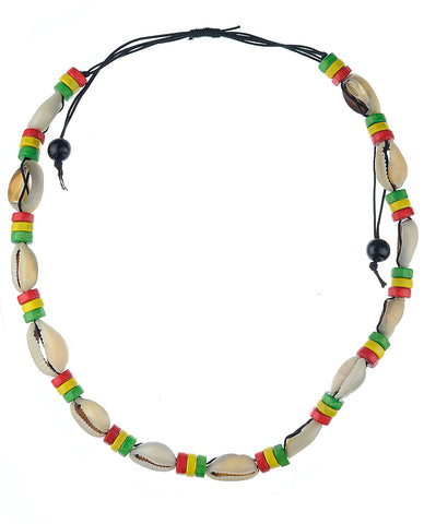 Unisex Wood Disc Rasta Conch Shell Macarame Necklace