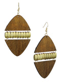 Women's Linked Rounded Diamond Shape Wood Dangle Pierced Earrings, Light Brown