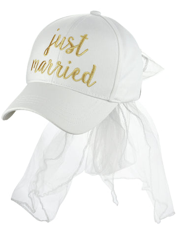 C.C Women's Bridal Metallic Gold Embroidered Adjustable Lace Veil Baseball Cap, Just Married