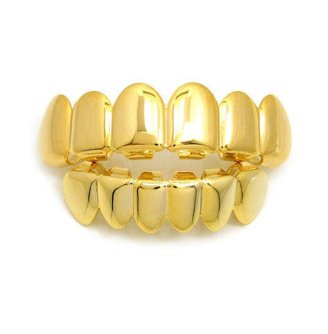 Hip Hop Rapper's Style Dental Grillz Set in Gold-Tone, GL1G