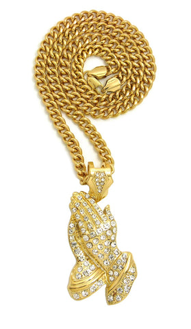 Stone Stud Praying Hands Pendant with 6mm Cuban Chain in Gold-Tone, 30""