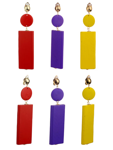 Women's Wood Geometric Round and Rectangular Clip On Earrings Set, Red/Purple/Yellow