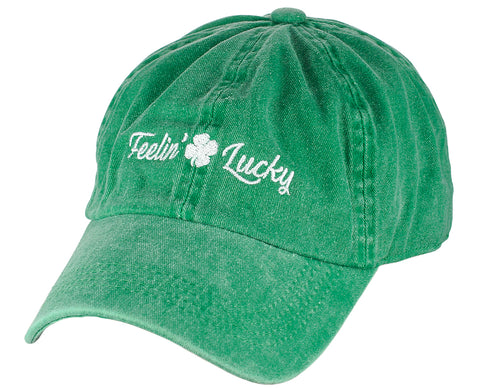 D&Y St. Patrick's Day Embroidered Quote Lucky Clover Low Profile Baseball Cap, Feelin' Lucky, Green