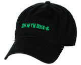 D&Y St. Patrick's Day Embroidered Quote Lucky Clover Low Profile Baseball Cap, Kiss Me I'm Irish