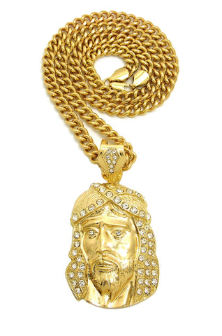 Stone Stud Hair Jesus Face Pendant with 6mm Cuban Chain in Gold-Tone, 36""