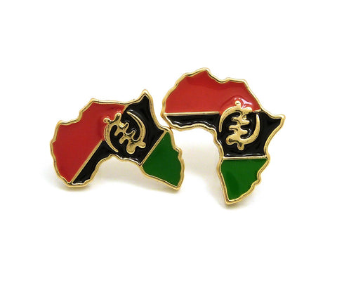 Pan Africa Stud Earrings in Gold-Tone, Gye Nyame