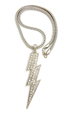 "Colored Stone Lightning Bolt Pendant with 4mm 18"" Franco Chain Necklace, Silver-Tone/Clear Stone"