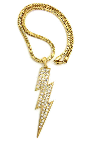 "Colored Stone Lightning Bolt Pendant with 4mm 18"" Franco Chain Necklace"