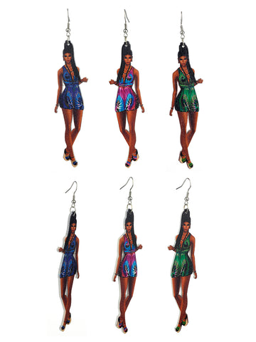 Women's Exquisite African Ebony Model Dangle Pierced Earrings Set, Summer Dress