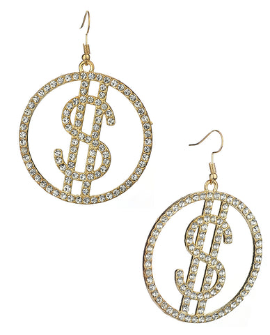 Women's Stone Stud Encircled Dollar Sign Money Symbol Dangle Pierced Earrings, Clear/Gold-Tone