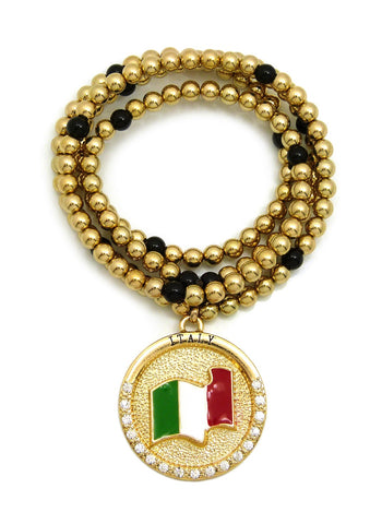"Stone Stud Waving Flag Medal Pendant with 6mm 30"" CCB Bead Necklace in Gold-Tone, Italy"