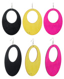 Women's Large Oval Flat Wood Dangle Pierced Earrings 3 Pair Set, Black/Yellow/Hot Pink