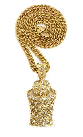 Stone Stud Hollow Basketball Net Pendant with 6mm Cuban Chain in Gold-Tone, 30""