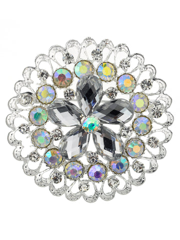 NYFASHION101 Elegant Formal Star Flower Rhinestone Studded Round Brooch Pin, Clear/Silver-Tone
