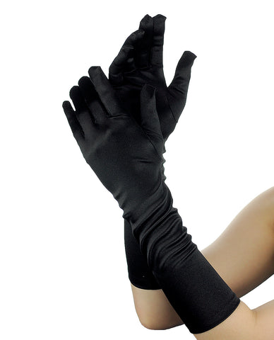 NYFASHION101 Solid Color Elegant Formal Arm Length Satin Gloves