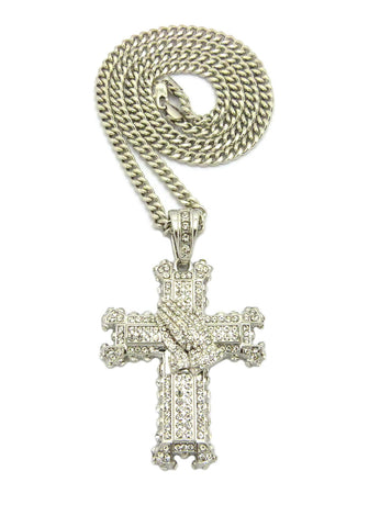 "Stone Stud Praying Hands on Heraldic Cross Pendant w/6mm 36"" Cuban Chain Necklace, Silver-Tone"