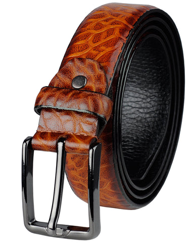 Eurosport Men's Tawny Faux Leather Cut-To-Fit Belt with Dark Metal Square Buckle, TS00012