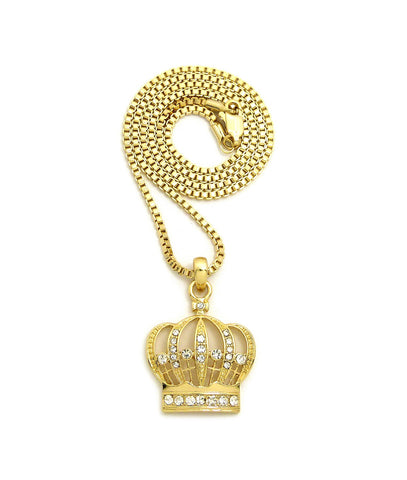 "Stone Stud Hollow Royal Crown Pendant with 2mm 24"" Box Chain Necklace"