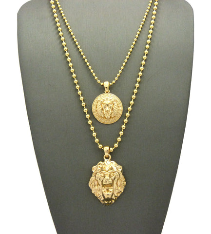 "Solid Narrow Lion Head Medal & 3D Lion Head Pendant Set 2mm 24"" & 30"" Ball Chain Necklace in Gold-Tone"