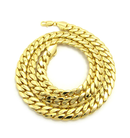 Gold-Tone 11mm Miami Cuban Chain Necklace w/ Lobster Clasp