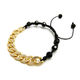Hip Hop Rapper's Style 10mm Iced Out Cuban Link and 8mm Black Stone Bead Adjustable Knotted Bracelet, Gold-Tone, XB448G