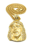 Stone Stud Hair Jesus Face Pendant with 6mm Cuban Chain in Gold-Tone, 24""