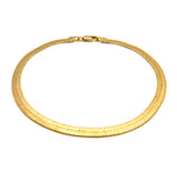 "Women's 5mm 10"" Herringbone Chain Anklet in Gold-Tone"