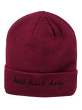 D&Y Double Layered Cuffed Beanie With Bad Hair Day Embroidery