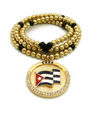 "Stone Stud Waving Flag Medal Pendant with 6mm 30"" CCB Bead Necklace in Gold-Tone, Cuba"