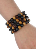 Women's Stackable 4 Piece Wood Bead Fashion Stretch Bracelet, Mix