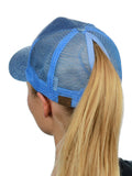 C.C Ponycap Messy High Bun Ponytail Adjustable Glitter Mesh Trucker Baseball Cap, Light Blue