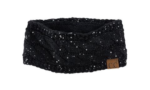 C.C Sparkly Sequin Winter Warm Cable Knit Fuzzy Lined Ear Warmer Headband