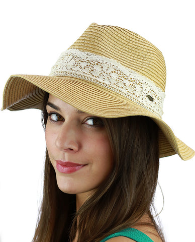 C.C Women's Paper Woven Panama Sun Beach Hat with Lace Trim, Natural