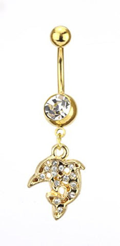 Clear Rhinestone Dolphin Charm Surgical Steel Belly Ring in Gold-Tone