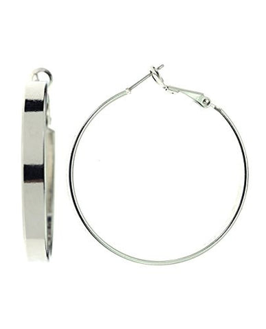 NYfashion101 Women's Solid 5mm Thick 38mm Fashion Hoop Earrings Made In Korea