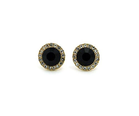 Rhinestone Cluster Faux Onyx Stud Earrings