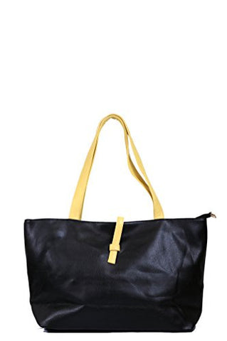 Ladies' Simple Classic Faux Leather Tote Shoulder Handbag w/ Attached Coin Pouch BLACK