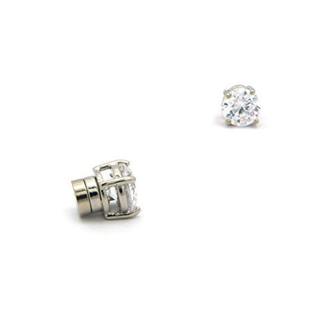 9mm Round Cut Clear Cubic Zirconia 4-Prong Magnetic Stud Earrings in Silver-Tone CZRM-R9