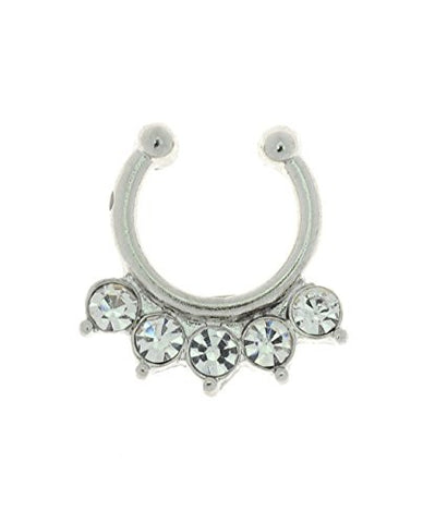 5 Stone Stud Tribal Style Non-Pierced Septum Hanger Nose Hoop Ring